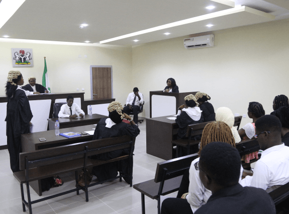 Students in courtroom session